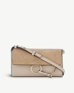 Faye leather and suede clutch bag