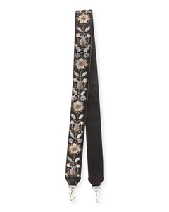 Metallic Floral-Embroidered Guitar Strap for Handbag, Bronze/Multi