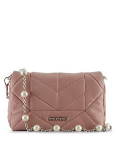 PEARL STRAP LEATHER CLUTCH