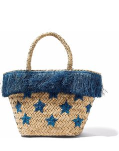 Fringed embroidered straw tote