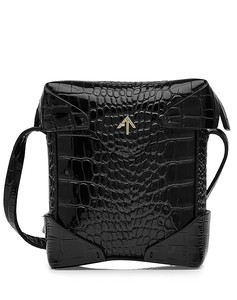 Micro Pristine Embossed Leather Shoulder Bag