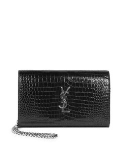 Silvertone Stamped Crocodile Clutch On Chain
