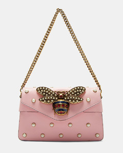 Broadway Pearl Studded Bee Clutch Bag in Pink