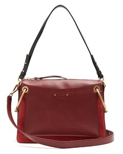 Roy medium suede and leather shoulder bag