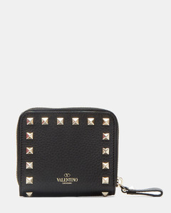 Pyramid Stud Zipped French Wallet in Black