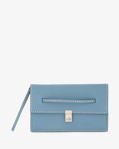 Blue Leather Micro Stud clutch bag