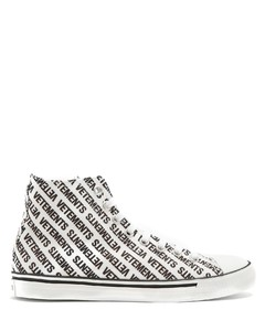 Logo-print high-top canvas trainers