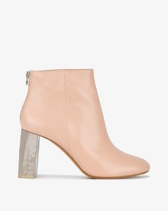 Pink Leather Claudine 90 ankle bboots
