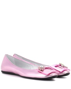 Gommette Jewels metallic leather ballerinas