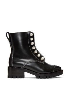 Black Leather Lug Pearl Boots