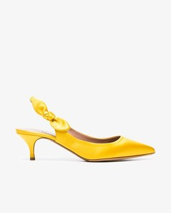 Yellow Rise 50 satin slingback pumps