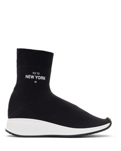 Black 'Fly To New York' Sock High-Top Sneakers