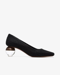 Black Besse 50 fabric pumps with spherical heel