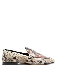 Fezzy collapsible-heel python-effect loafers