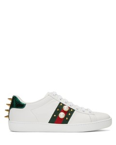 White Studded Ace Sneakers