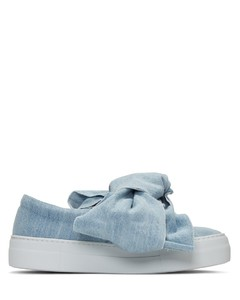 Blue Denim Bow Double Slip-On Sneakers