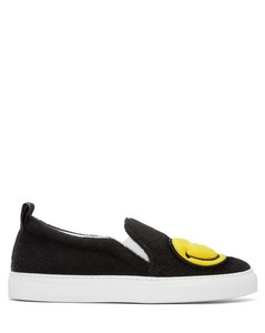 Black Felt Smiley Slip-On Sneakers