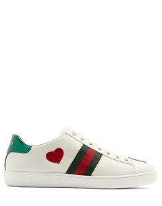New Ace heart-appliquéleather trainers