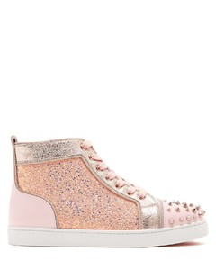 Lou Degra embellished leather high-top trainers