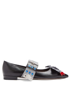 Contrast strap leather flats