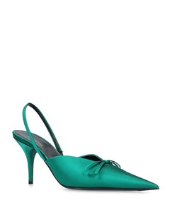 Satin Knife Bow Pumps 80