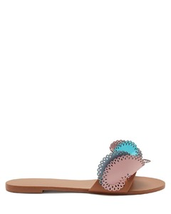 Soleil laser-cut ruffle leather slides