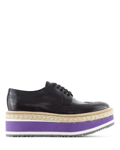 RUBBER AND ESPADRILLE MICRO SOLE LEATHER DERBIES