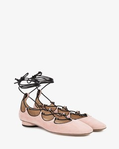 Pink Suede lace up ballet flats