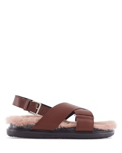 CROSSOVER SANDALS WITH FUR SOLE