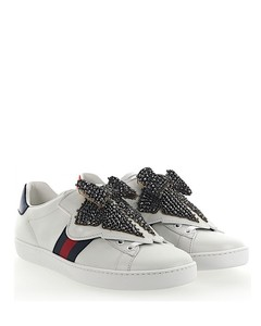 Ace Sneakers MIRO leather white removable embroidery loop crystals