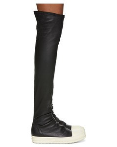 Black & White Stocking Thigh-High Boots