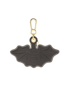Bat-embossed leather key ring