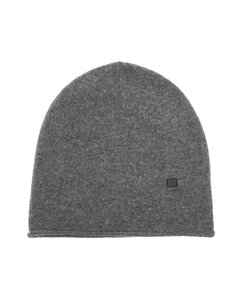 Ribbed-knit wool beanie hat
