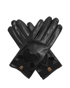 Grosgrain-bow leather gloves