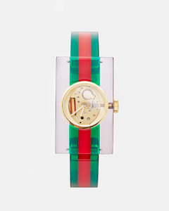 Striped Plexiglas Watch in Green