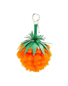 Pineapple leather and fur bag charm