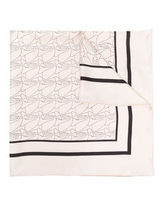 Dot Printed Check Scarf in Mulberry Silk and Wool