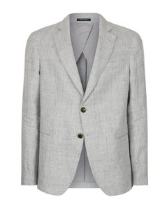 Single-Breasted Melangé Linen Jacket