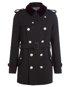 Wool Coat with Embossed Buttons