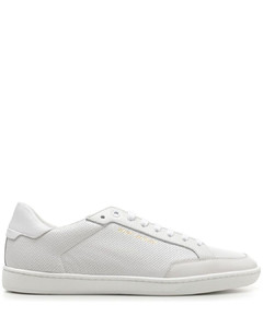Green and red web sandals