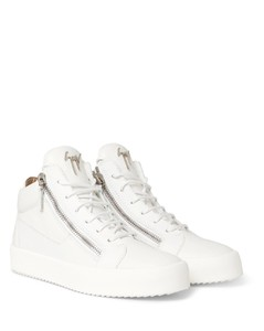 Logoball Textured-Leather High-Top Sneakers