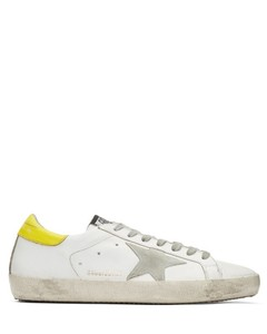 White & Yellow Superstar Sneakers