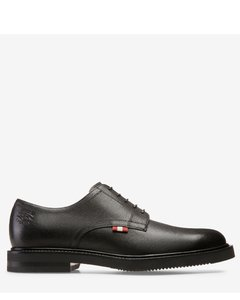 Men's printed calf leather derby shoe in black