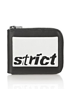 ZIPPED BI-FOLD WALLET IN BLACK WITH STRICT ARTIWORK