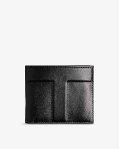 Stripe-panel leather pouch