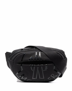 Studded grained-leather pouch