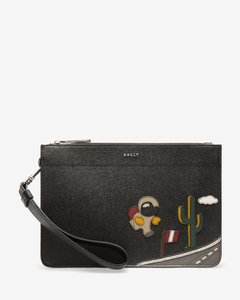 Men's bull leather clutch bag in black