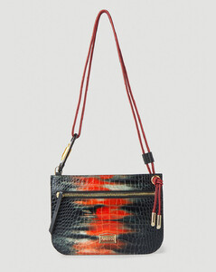 Men's leather Bally Stripe messenger bag in dark navy