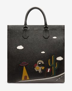 Men's bull leather tote bag in black