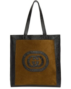 Brown & Black Large Suede Ophidia Tote